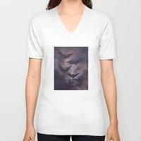 bats V-neck T-shirts featuring midnight bats by Sarah Knight