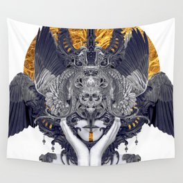 Black Feathers Wall Tapestry