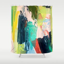 Bloom [2] - a bright mixed media piece in pinks, greens, blues, and yellow Shower Curtain