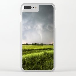 White Tornado - Twister Emerges from Rain Over Field in Kansas Clear iPhone Case