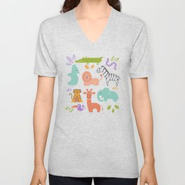 Zoo Pattern in Soft Colors Unisex V-Neck