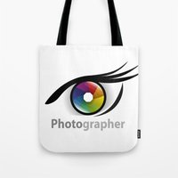 photographer Tote Bags featuring Photographer by Jatmika jati