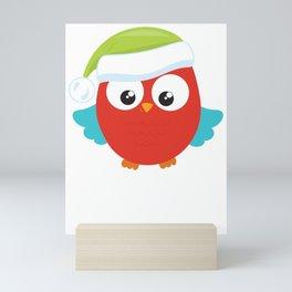Christmas Owl Green Santa Hat Mini Art Print