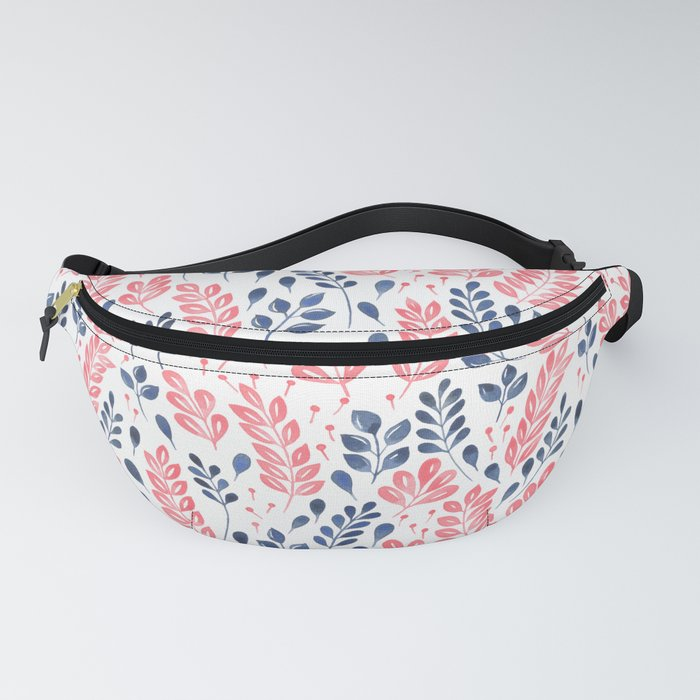 Wistful Floral - Coral and blue Fanny Pack