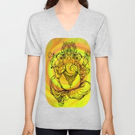 Lord Ganesha on Yellow Spiral Unisex V-Neck