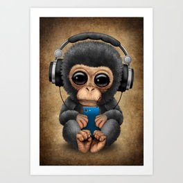 Baby Chimpanzee with Headphones Holding a Cell Phone Art Print