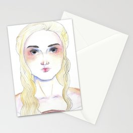Female portrait inspired by Mother of Dragons medieval character Stationery Cards