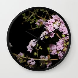Pink Flowers blooming at night Wall Clock