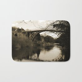 Worlds First Ironbridge over River Severn in England in sepia Bath Mat