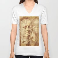 crowley V-neck T-shirts featuring Mr. Crowley by Rodrigo Grola