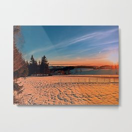 Colorful winter wonderland sundown IV | landscape photography Metal Print