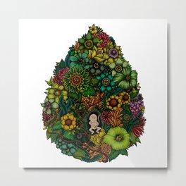 "Floral Uterus ""緑(ROKU)"" Metal Print"