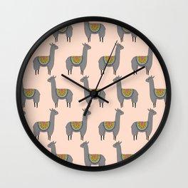 Llama Momma on Peach Wall Clock
