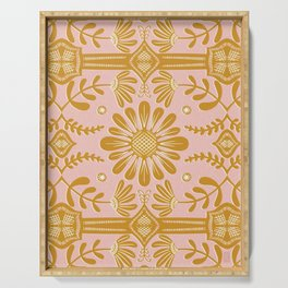 Boho Florals Yellow White Pink Serving Tray