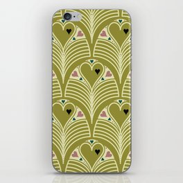 Heart Deco in Olive iPhone Skin