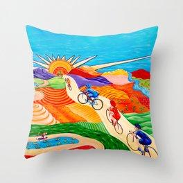 Wheels on Hills Throw Pillow