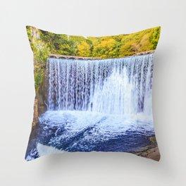 Monk's waterfall Throw Pillow