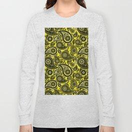 Yellow Paisley Pattern Long Sleeve T-shirt