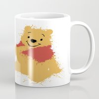 winnie the pooh Mugs featuring Winnie The Pooh by DanielBergerDesign