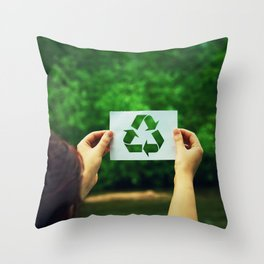 holding recycle symbol Throw Pillow