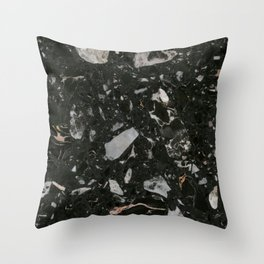 Stone Black Marble Throw Pillow