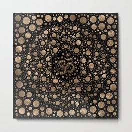 OM Symbol - Dot Art - Black and Gold Metal Print