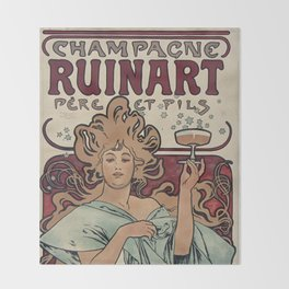 Ruinart Champagne / Alphonse Mucha Throw Blanket