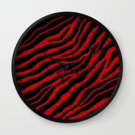 Ripped SpaceTime Stripes - Red Wall Clock