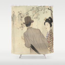 Man with bowler hat and umbrella and lady in kimono - Takeuchi Keishu (1900 - 1925) Shower Curtain