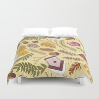 70s Duvet Covers featuring 70s Woodland by Aron Gelineau