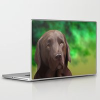 labrador Laptop & iPad Skins featuring Chocolate Labrador by Nojjesz