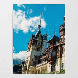 Peles Palace In Transylvania, Architecture Photography, Medieval Castle, Mountain Landscape, Romania Poster