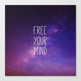 Free Your Mind, Quote, Blue Purple Night Sky, Universe Canvas Print