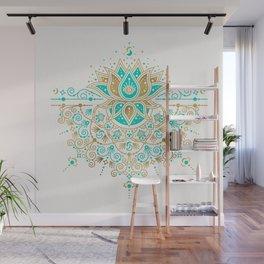 Sacred Lotus Mandala – Turquoise & Gold Palette Wall Mural