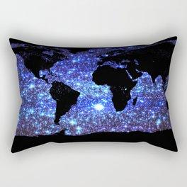 world Map Blue Swirl Galaxy Sparkle Rectangular Pillow