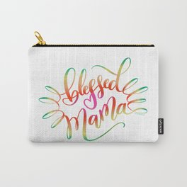 Blessed Mama Colorful Hand Lettering Design Carry-All Pouch