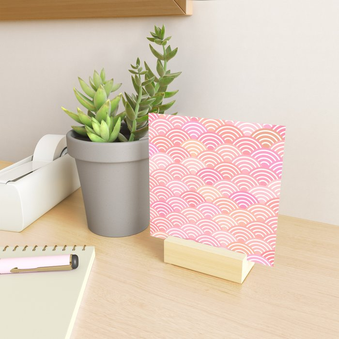 dragon fish scales simple pattern Nature background with japanese wave Mini Art Print