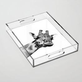 Black and white giraffe Acrylic Tray