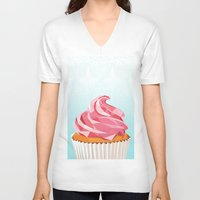cupcake V-neck T-shirts featuring Cupcake by kalieda
