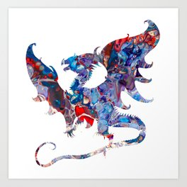 Colorful Bold Acrylic Abstract Art Dragon - Blue, Purple, Red Art Print