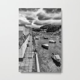 West Looe River in Black and White Metal Print