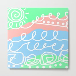 Crashing Waves - White Green Blue Metal Print