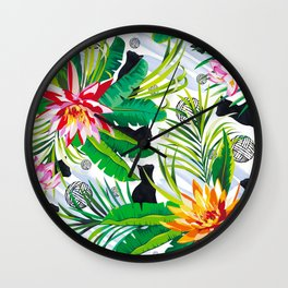 Pattern Cats between plants Wall Clock