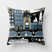 stockholm Throw Pillows featuring Stockholm by koivo