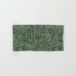 Circuit Board // Green & Silver Hand & Bath Towel