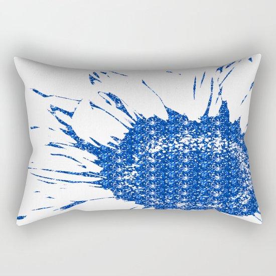 Sparkley Blue Flower Rectangular Pillow