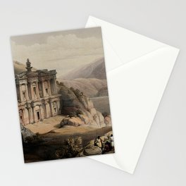 Vintage Print - The Holy Land, Vol 3 (1843) - Rock temple of el-Derr at Petra Stationery Cards