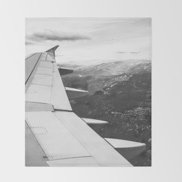 Mountain State // Colorado Rocky Mountains off the Wing of an Airplane Landscape Photo Throw Blanket
