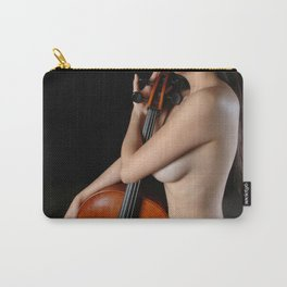 0205-JC Nude Cellist with Her Cello and Bow Naked Young Woman Musician Art Sexy Erotic Sweet Sensual Carry-All Pouch