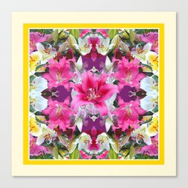 PINK & WHITE LILY GARDEN  YELLOW ABSTRACT Canvas Print